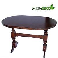 Стол  овальный из натурального дерева на двух ногах 120 х 75 см. для дома, кафе, бара, ресторана.