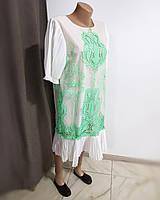Платье летнее модное белое с сеткой и салатовым узором кружемом