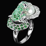 Серебряное  кольцо с изумрудами и жемчугом, фото 2