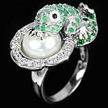Серебряное  кольцо с изумрудами и жемчугом, фото 3
