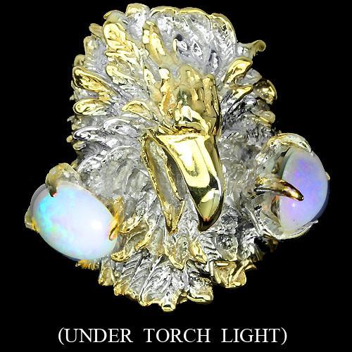 Серебряное кольцо с опалами 8мм*10мм в форме орла