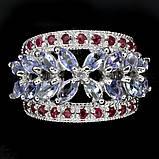 Серебряное кольцо с танзанитами и рубинами, фото 2