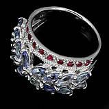 Серебряное кольцо с танзанитами и рубинами, фото 3