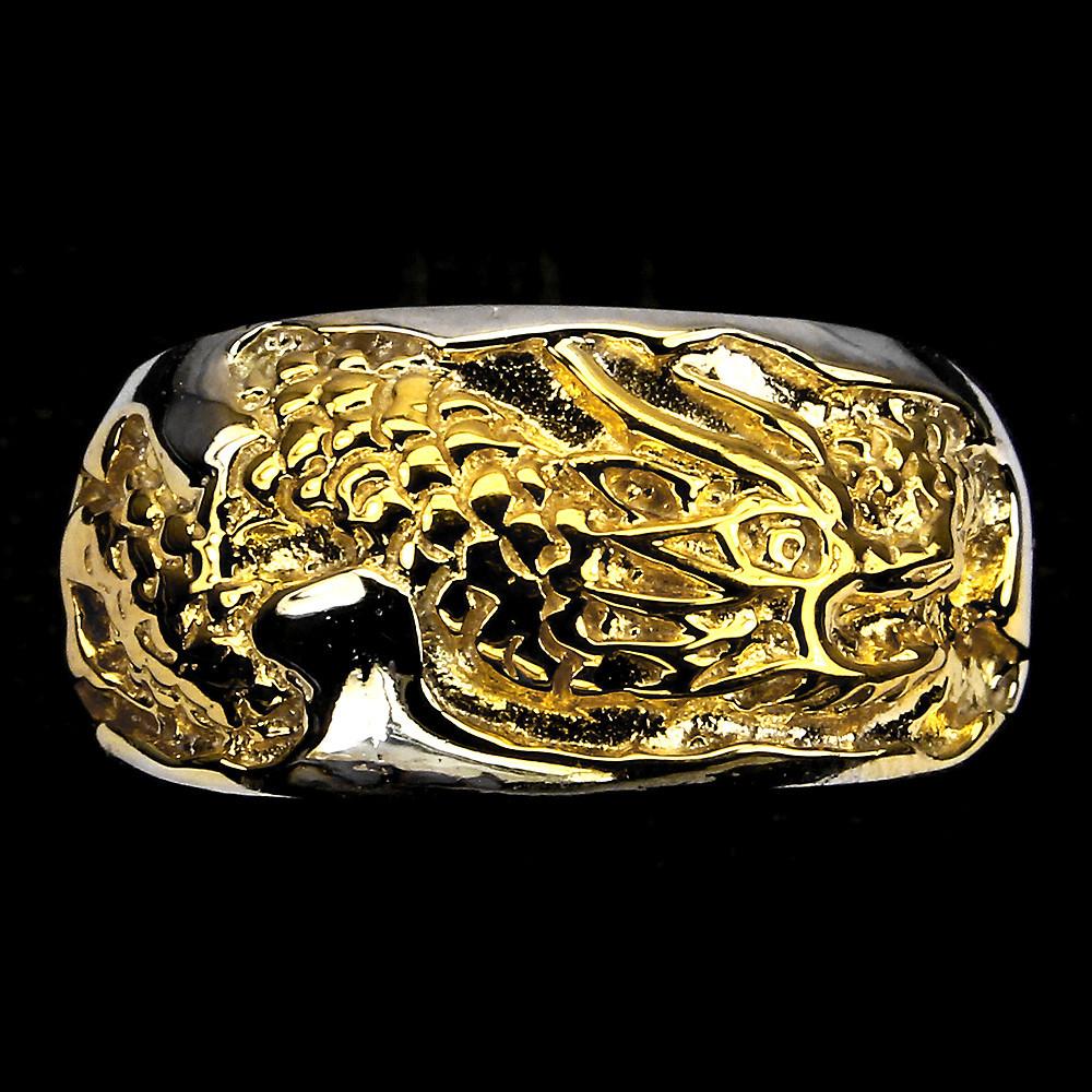 Серебряное кольцо с золотим драконом