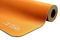 Коврик, мат для йоги и фитнеса 4FIZJO Tpe 6 мм 4FJ0034 Orange-Black - 227746