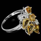 Серебряное кольцо с золотистыми цитринами, фото 2