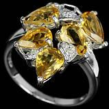 Серебряное кольцо с золотистыми цитринами, фото 3