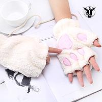 """Перчатки """"Кошачьи лапки"""". Белые."""