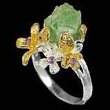 Серебряное кольцо с нешлифованным изумрудом и аметистами, фото 2