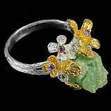 Серебряное кольцо с нешлифованным изумрудом и аметистами, фото 3