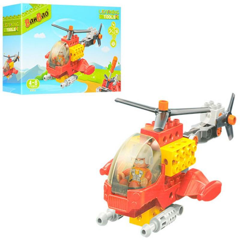 Конструктор BANBAO, вертолет, фигурка, отвертка, 17 деталей, 9721