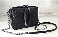 61-бв Натуральная кожа Черная сумка женская через плечо кросс-боди черная Сумка кожаная черная тиснение 3D