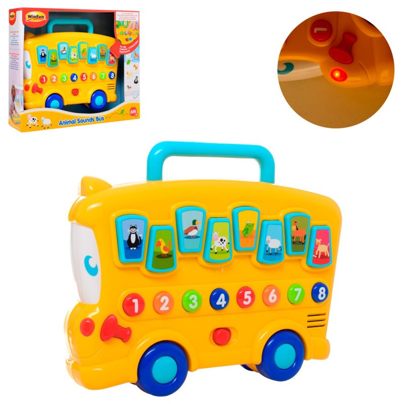 Развивающая игрушка Автобус, звуки животных, цифры, свет, 0676-NL
