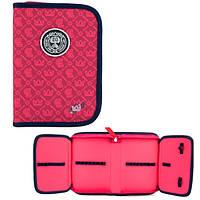 Пенал Kite College line-4, розового цвета, пенал-книжка отделения с двумя отворотами, 111099