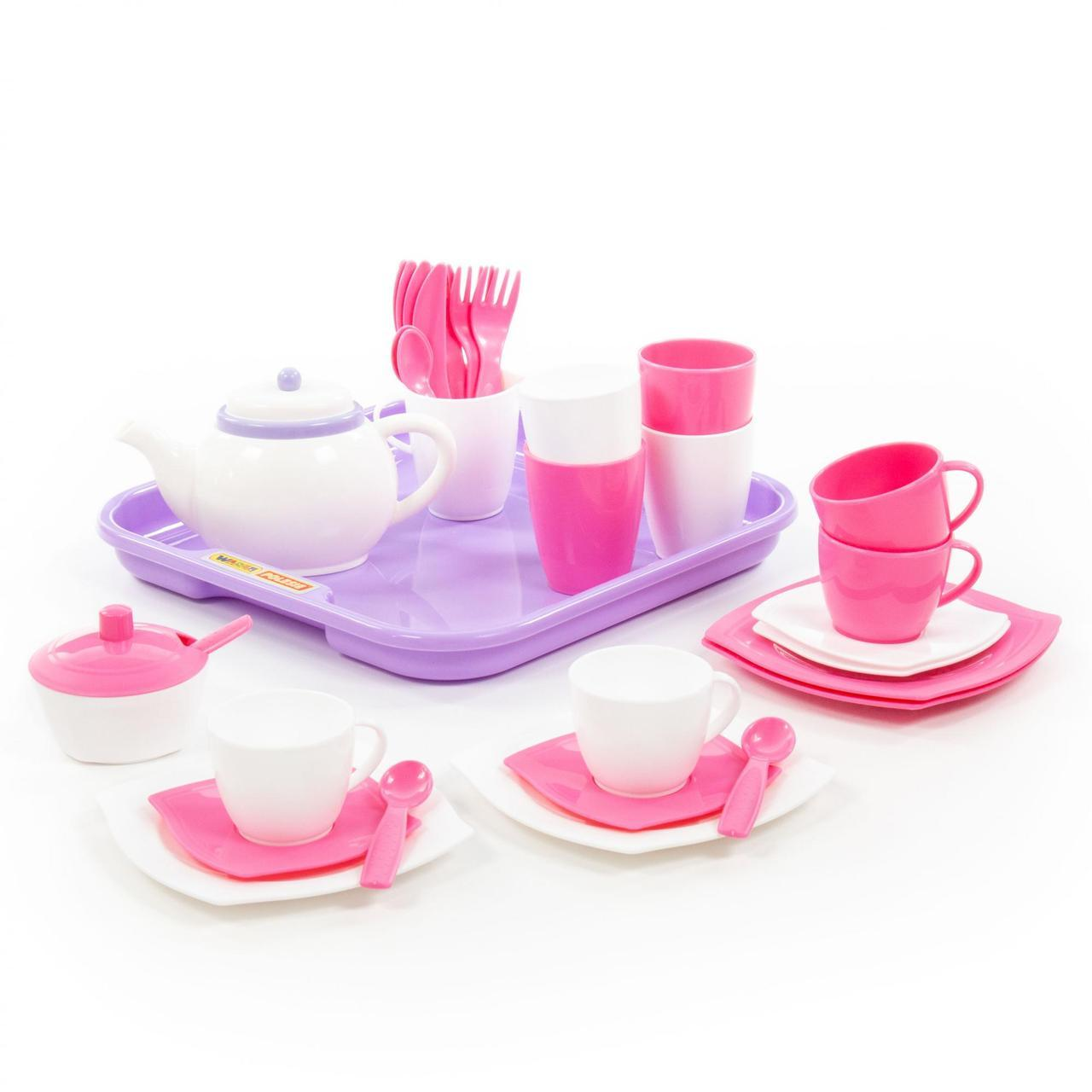 """Набор детской посуды """"Алиса"""" с подносом на 4 персоны, 35 эл., Полесье, 58973"""