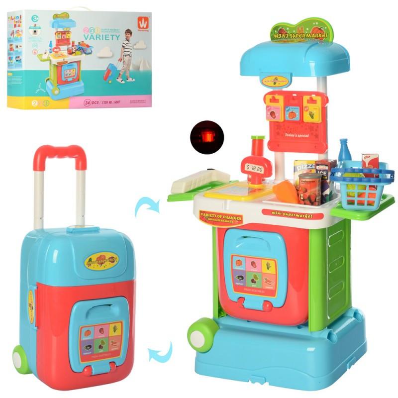 Магазин, звук, свет, продукты, чемодан на колесах, 34 предмета, W807