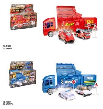 Модель грузовик, металлический с машинками, 2 цвета, TH218/TH219