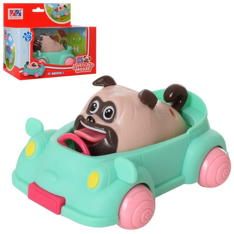 Собака 8,5см, машинка 12,5см, ездит, 623