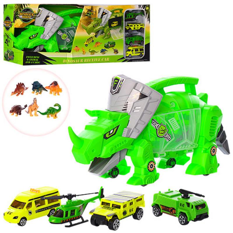 Трейлер носорог 40см, транспорт 4шт, от 6,5см, динозавры 6шт, SY9917