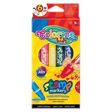 Фломастеры 2-сторонние, со штампиком, 6 цветов, COLORINO, 36122PTR