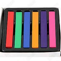 Мел тушь для волос палитра 6 цветов мел-краска порошок цветной