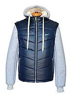 """Хит продаж!Разборная зимняя куртка-жилет""""Nike""""на меху,темно-синего цвета."""