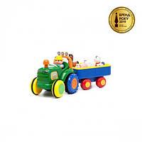 Іграшка на колесах - ТРАКТОР З ТРЕЙЛЕРОМ (на колесах, світло, озвучка українською мовою), 24753