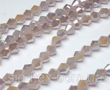 Бусины хрустальные (Биконус)  4х4мм (пачка- 95-105 шт), цвет - темно розовый непрозрачный с АБ (сп7нг-3836)