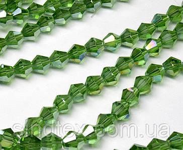 Бусины хрустальные (Биконус)  4х4мм (пачка- 95-105 шт), цвет - зеленый прозрачный с АБ (сп7нг-3838)