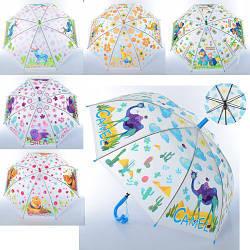 Зонтик детский, клеенка, свисток, 6 видов (животные), MK3877-2