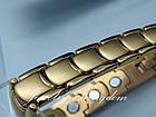 Магнитный браслет мужской из медицинской стали позолота., фото 4