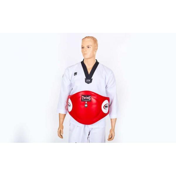 Пояс тренера кожаный TWINS (красный)