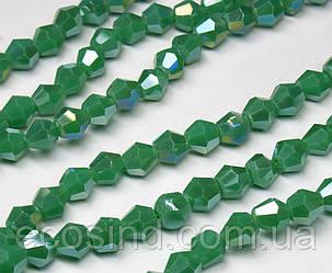 Бусины хрустальные (Биконус)  4х4мм (пачка- 95-105 шт), цвет - зеленый непрозрачный с АБ (сп7нг-3843)