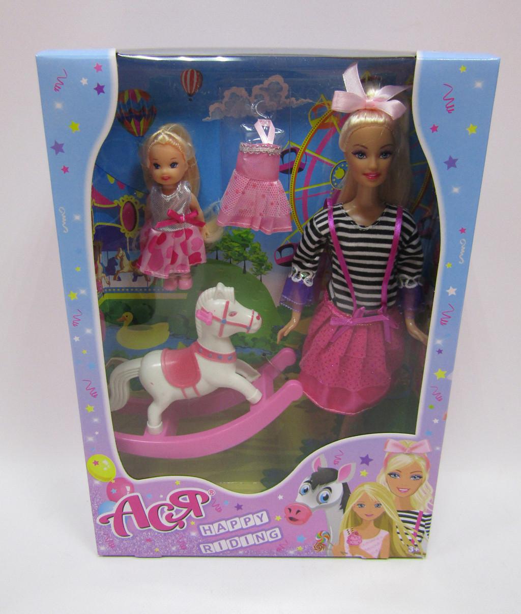 """Набор с куклой """"Ася"""", """"Прогулка верхом"""", блондинка, с маленькой куклой, 35104"""