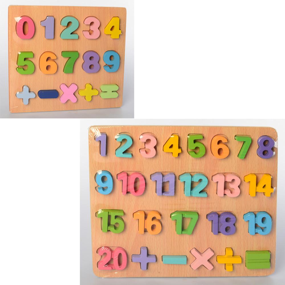 """Деревянная игрушка """"Рамка-вкладыш"""", цифры, 2 вида, MD2215"""