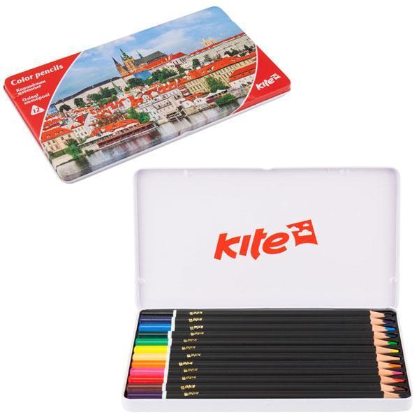 """Карандаши цветные Kite """"Города"""", трехгранные, 12шт/упак., K17-058-2"""