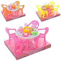 """Мебель для кукол """"Столовая"""", столик, стулья, посуда, 3 цвета, 8840"""