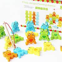 Деревянная игрушка Балансир-рыбалка «Лягушата», развивающие товары для детей.