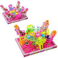 Столовая для кукол, стол, стулья, кукла, посуда, микс цветов, 66-16