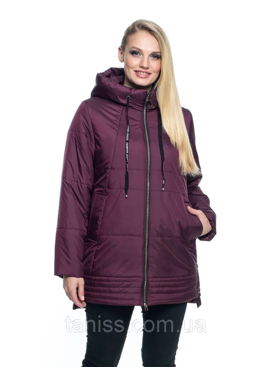Женская,стильная, демисезонная куртка большого размера, капюшон вшитый, р-ры с 50 по 66, марсал(107)