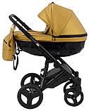 Универсальная детская коляска 2 в 1 Bair Crystal 100% кожа BC-40 золото перламутр - черный, фото 3