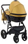 Универсальная детская коляска 2 в 1 Bair Crystal 100% кожа BC-40 золото перламутр - черный, фото 4