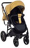 Универсальная детская коляска 2 в 1 Bair Crystal 100% кожа BC-40 золото перламутр - черный, фото 6