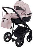 Универсальная детская коляска Bair Crystal 100% кожа BC-02 розовый перламутр - черный, фото 2