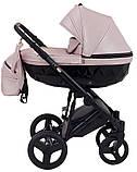 Универсальная детская коляска Bair Crystal 100% кожа BC-02 розовый перламутр - черный, фото 3