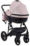 Универсальная детская коляска Bair Crystal 100% кожа BC-02 розовый перламутр - черный, фото 4