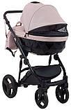 Универсальная детская коляска Bair Crystal 100% кожа BC-02 розовый перламутр - черный, фото 5