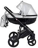 Универсальная детская коляска  Bair Crystal 100% кожа BC-31 серебро перламутр - черный, фото 3