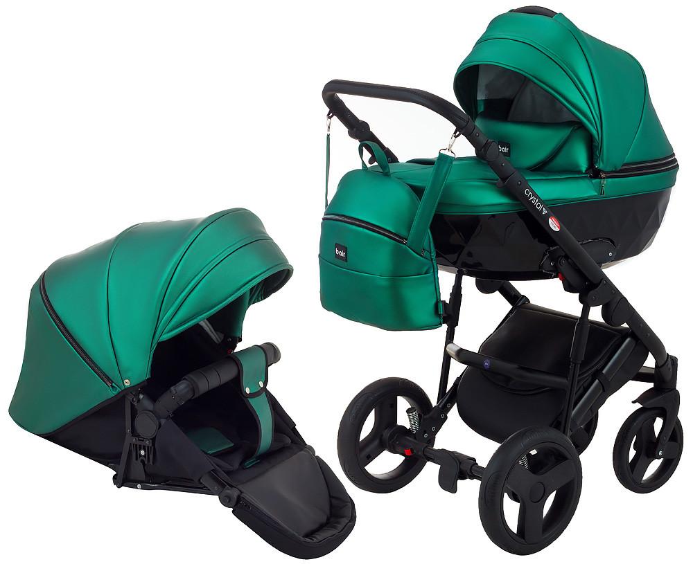 Универсальная детская коляска 2 в 1 Bair Crystal 100% кожа BC-35 зелёный перламутр - черный