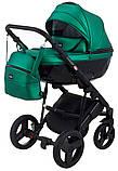 Универсальная детская коляска 2 в 1 Bair Crystal 100% кожа BC-35 зелёный перламутр - черный, фото 2